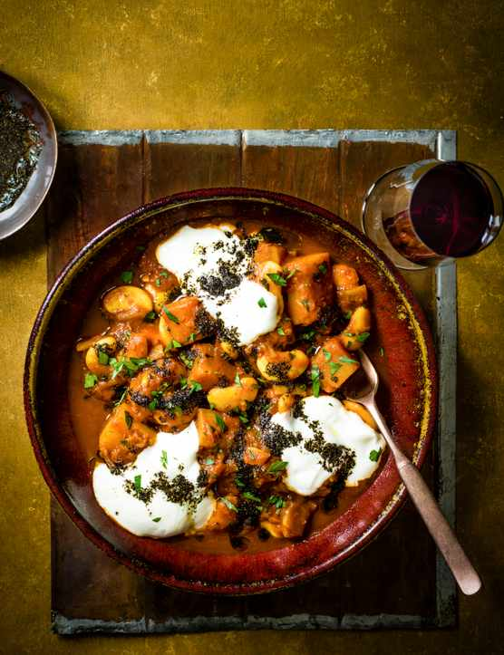 Butternut Squash and Butterbean Stew Recipe with Yogurt