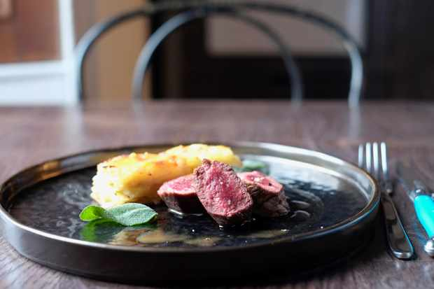 Roe deer fillet with apple and parsnip dauphinoise, kitchen garden sage