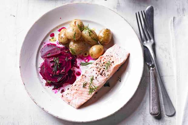 Ginger Salmon Recipe with Beetroot Pickles
