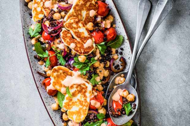 Chickpea and Halloumi Salad Recipe with Lentils