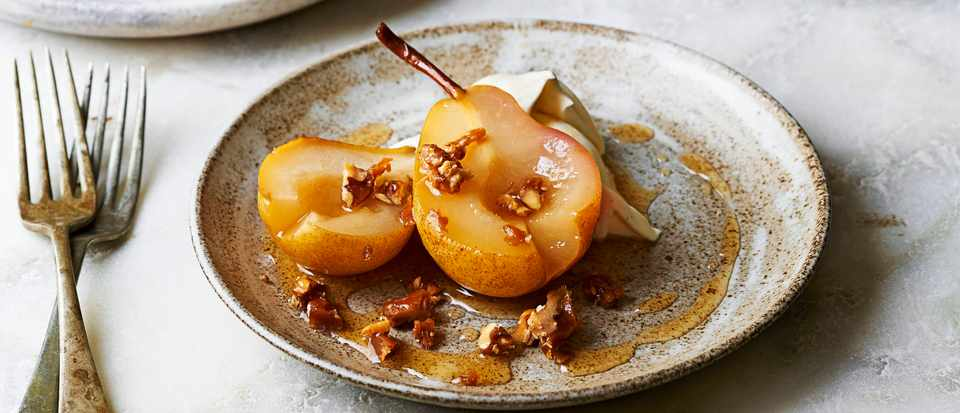 Poached Pears Recipe with Chantilly Cream and Candied Walnuts