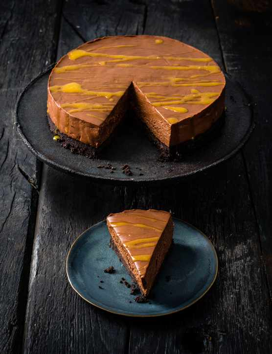 Dark Chocolate Cheesecake Recipe with Passion Fruit
