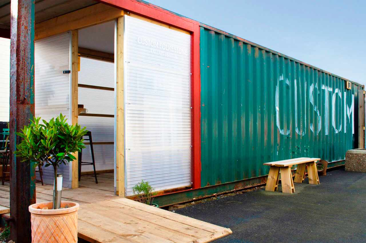 Sea container concerted into a restaurant at Custom Folkestone