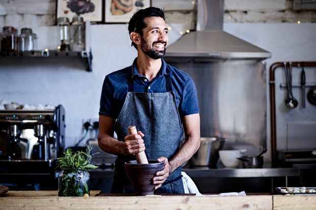 Pravin Nayar in the kitchen at Castle Farm Cafe near Bath