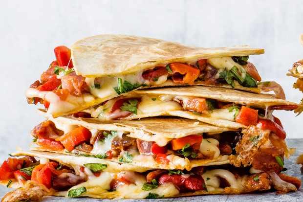 Chorizo and red pepper quesadillas