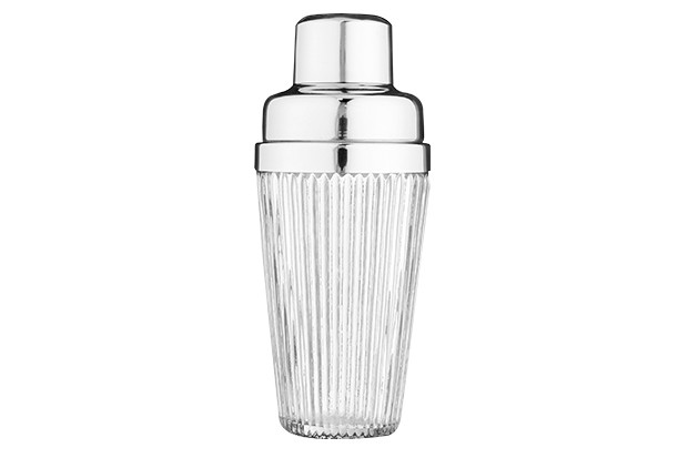 An art deco style glass cocktail shaker
