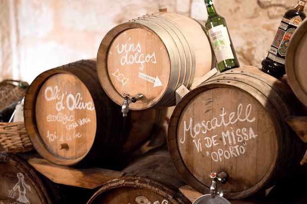 Barrells of wine at Son Vich Estate Mallorca