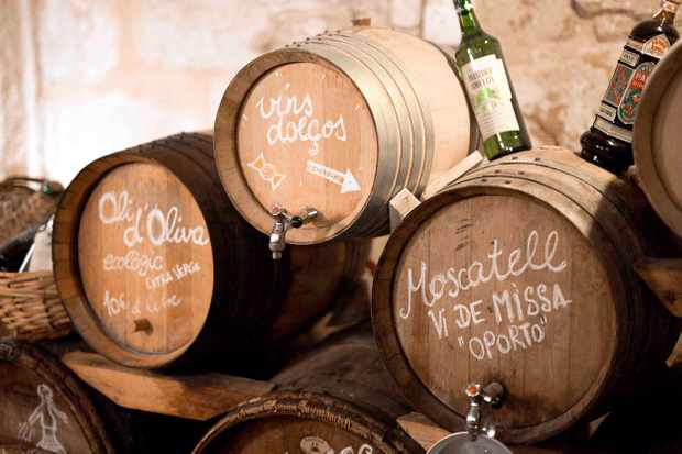 Barrells of wine at Son Vich Estate Mallorca