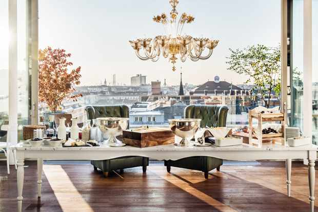 The top-floor Grand Stage of Grand Ferdinand Hotel boasts views across gilded rooftops, intricate domes and palaces.