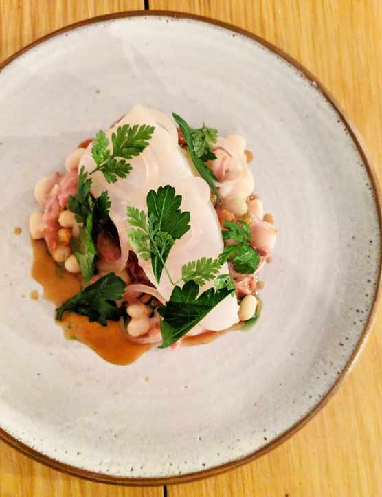 A plate of white fish at Harlequin Fulham