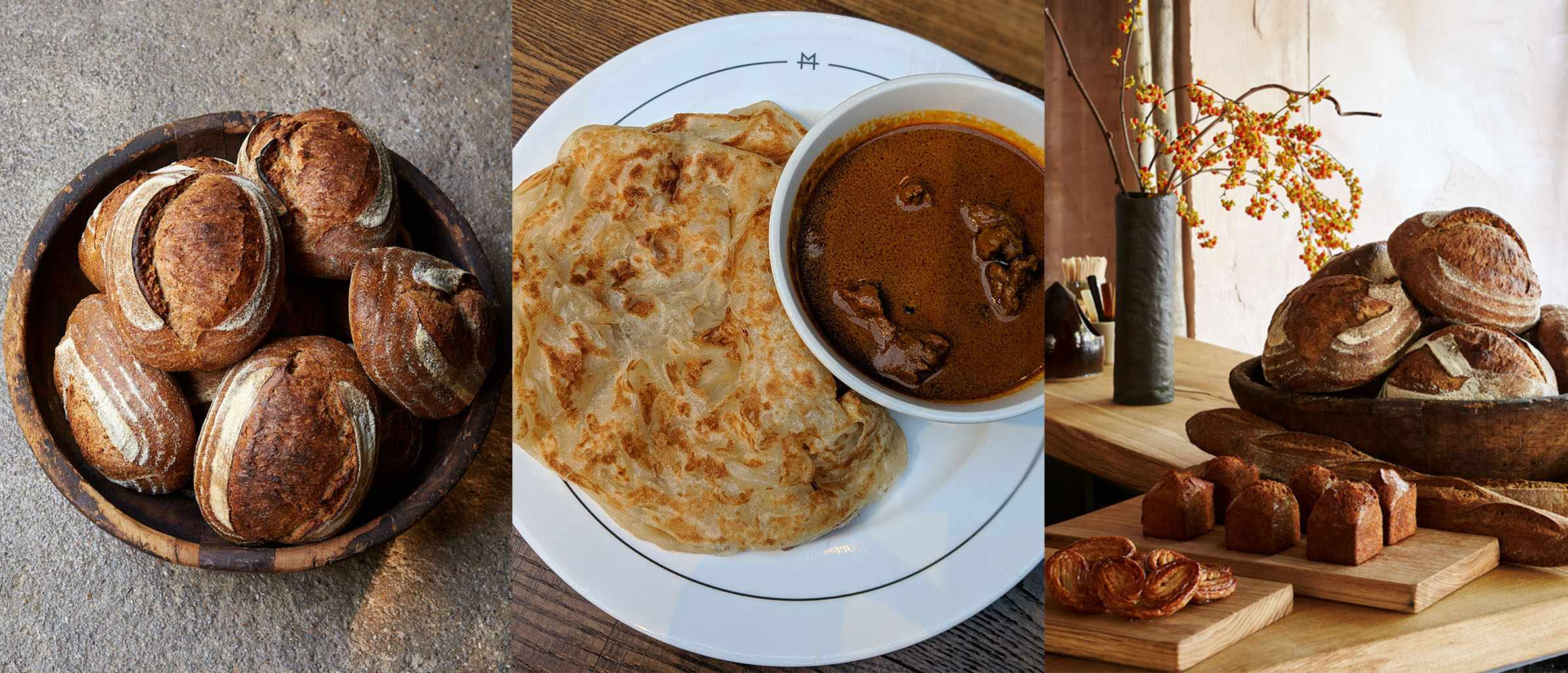 Three images in a row. The first is of a selection of breads, the second is a bowl of mutton curry with roti and the last is of more bread