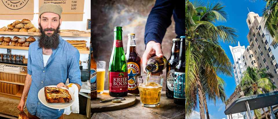 Three images in a row. The first is of Zac the Baker in Miami holding a slice of babka, the second is of a selection of beers and the third is of palm trees in Miami