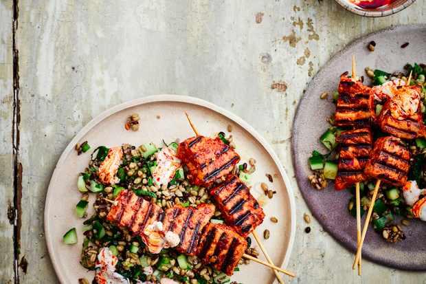 Tuna Kebab Recipe with Mixed Grains