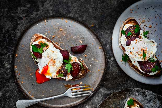Feta Toast Recipe with Beetroot and Eggs