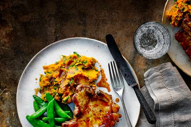 Baked Pork Chops Recipe with Sweet Potato Mash