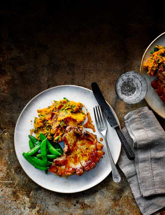 Baked Pork Chops Recipe with Sweet Potato Mash