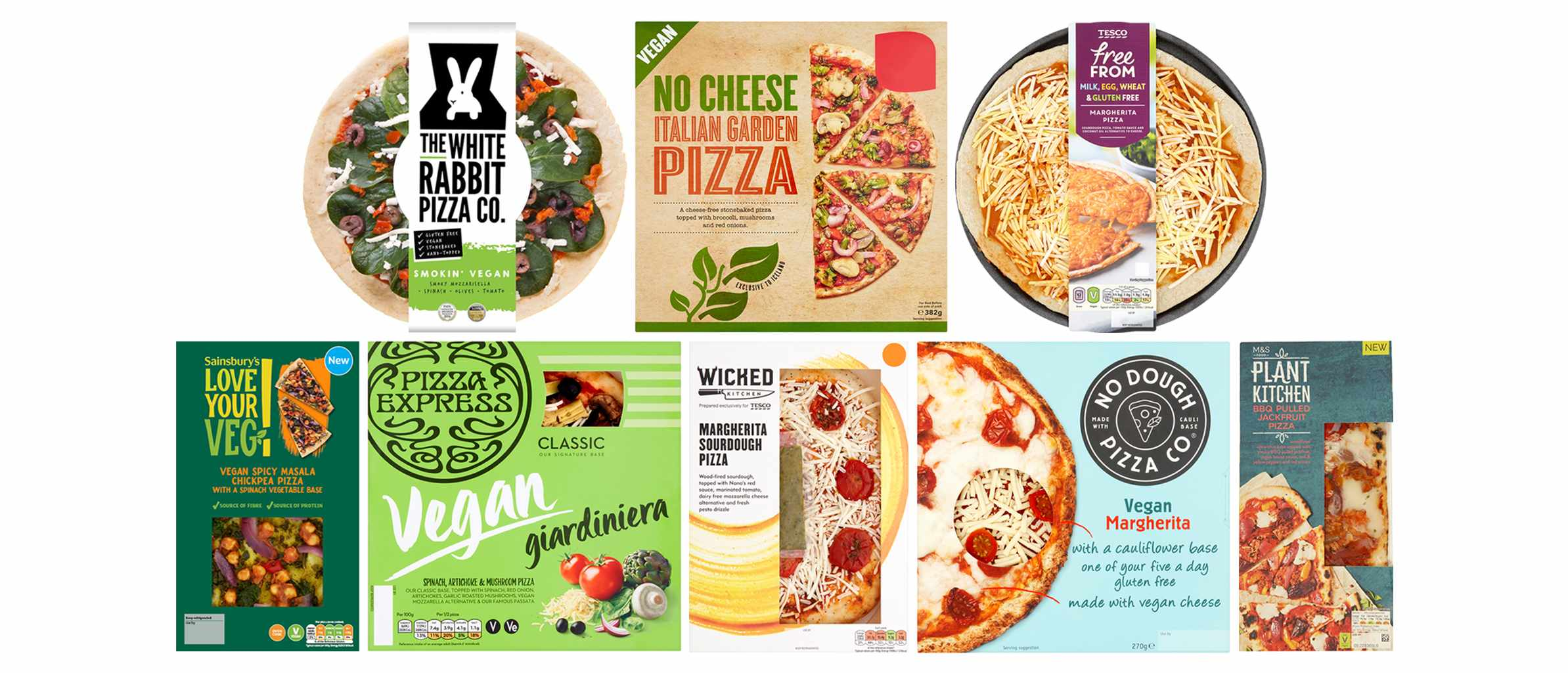 A selection of vegan pizzas in their packets