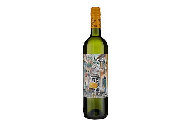 A bottle of Vinho Verde wine with a brightly coloured label with images of the Portuguese tram system