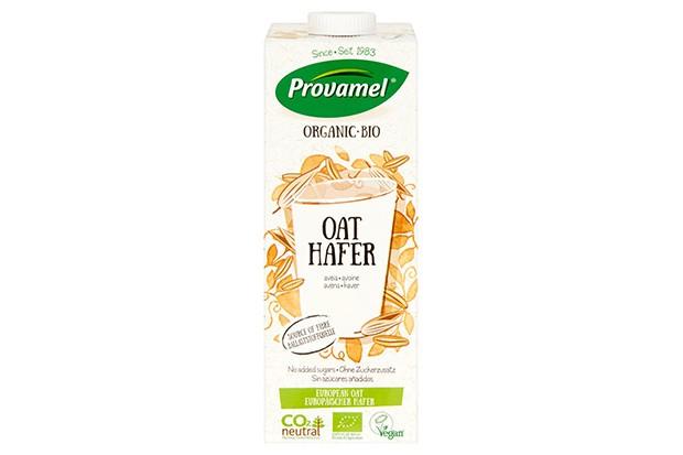 A white bottle of Provamel oat drink