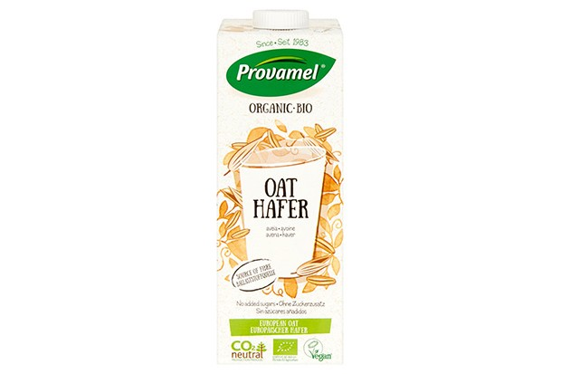 A white bottle of Provamel oat drink