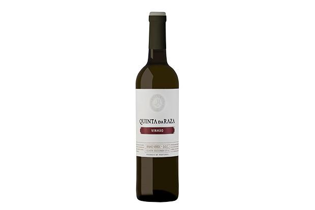 A dark coloured bottle of Vinho Verde wine