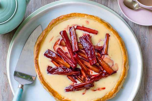 Rhubarb Puff Pastry Tart with Custard
