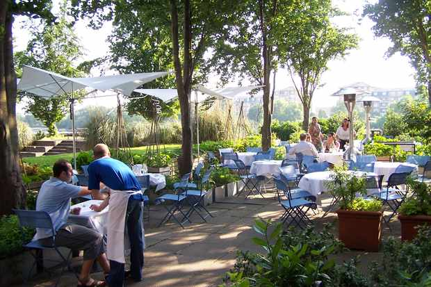 The River Café terrace with people sat around tables in the sun dappled shade