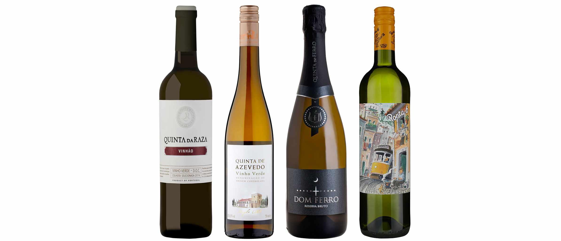 A selection of four bottles of Vinho Verde wine