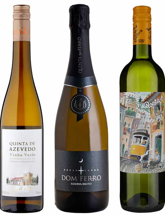 A selection of four bottles of Vinho Verde wine