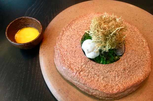 Fried reindeer moss with sauce made from egg yolks and fermented chicken wings
