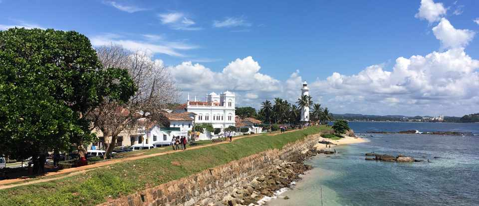 Galle Fort's famous lighthouse at the end of the beach