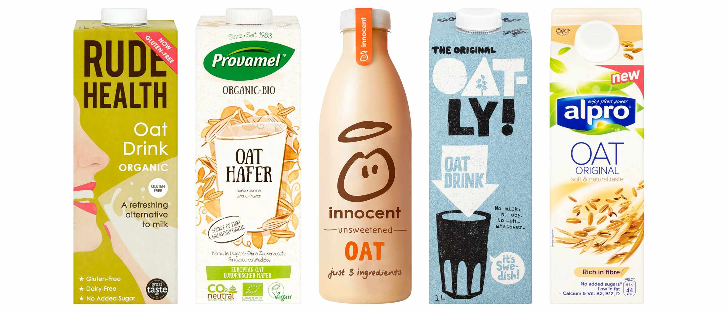 Five different bottles of oat milk all in a row