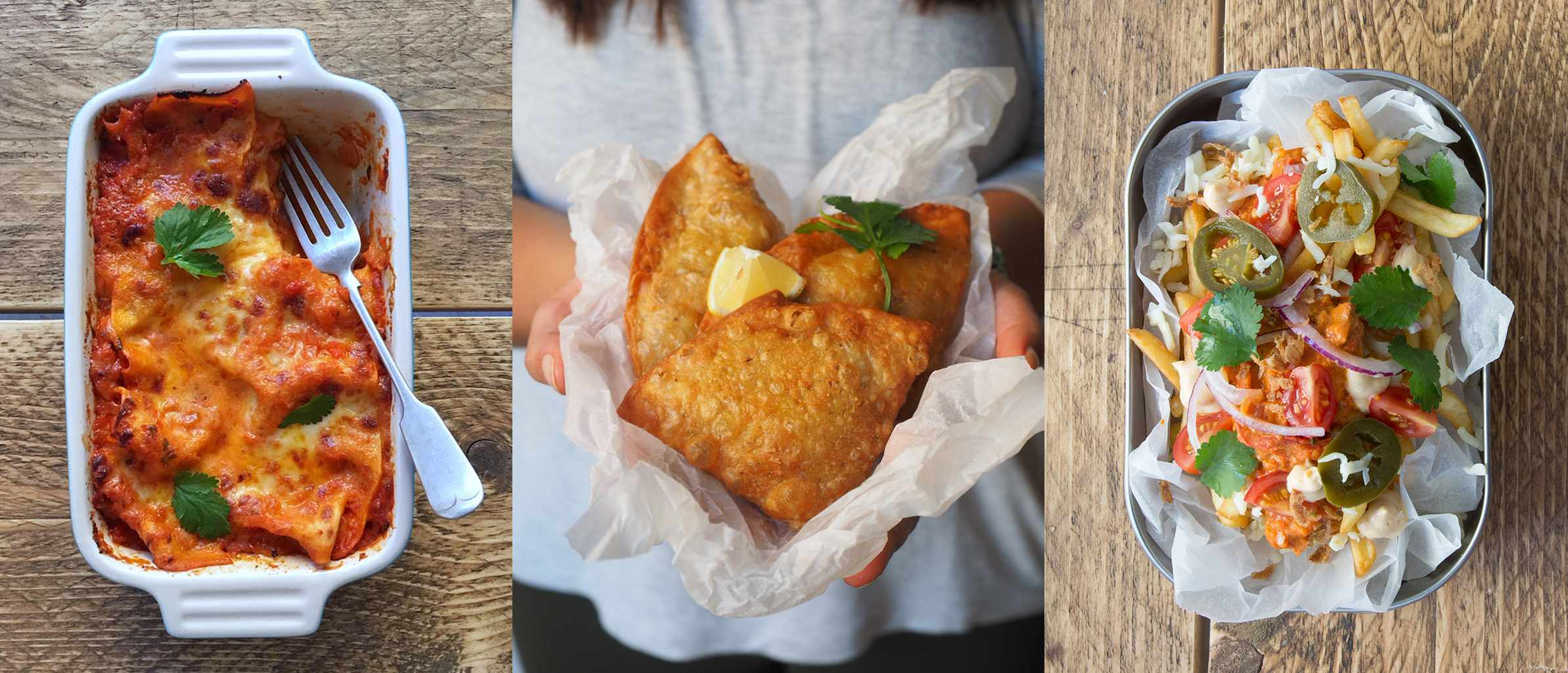 A selection of three images including samosas, butter chicken lasagne and chaat fries from the Secret Samosa Club