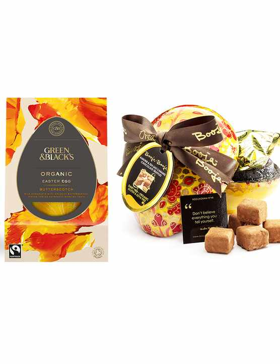 A selection of milk and dark chocolate Easter eggs in their boxes