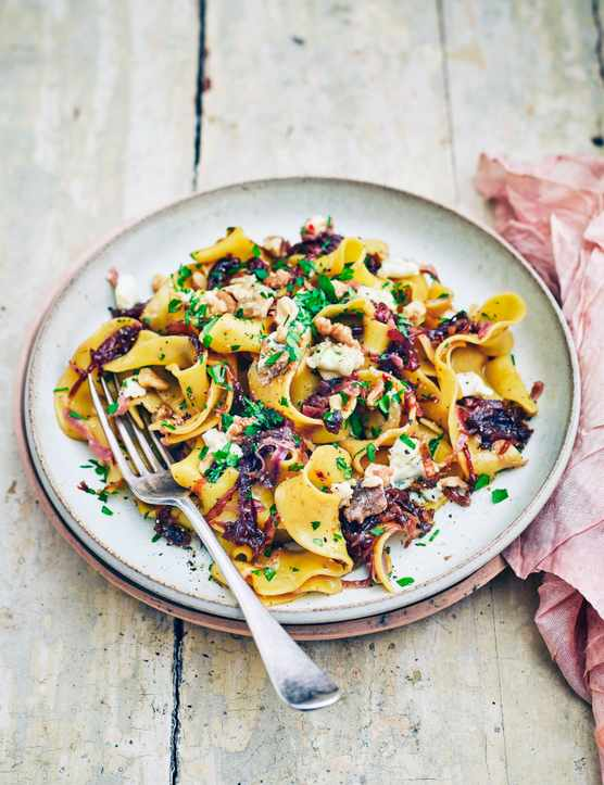 Pappardelle Pasta Recipe with Caramelised Onions and Dolcelatte