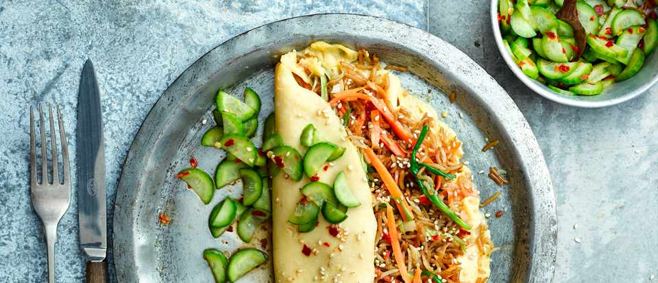 Omelette Rice Recipe with Pickled Cucumber