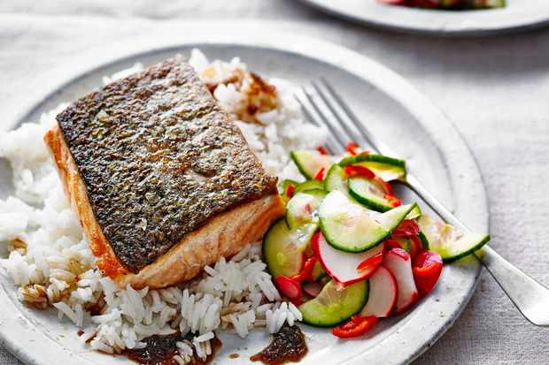 Crispy Salmon Recipe with Quick Pickles