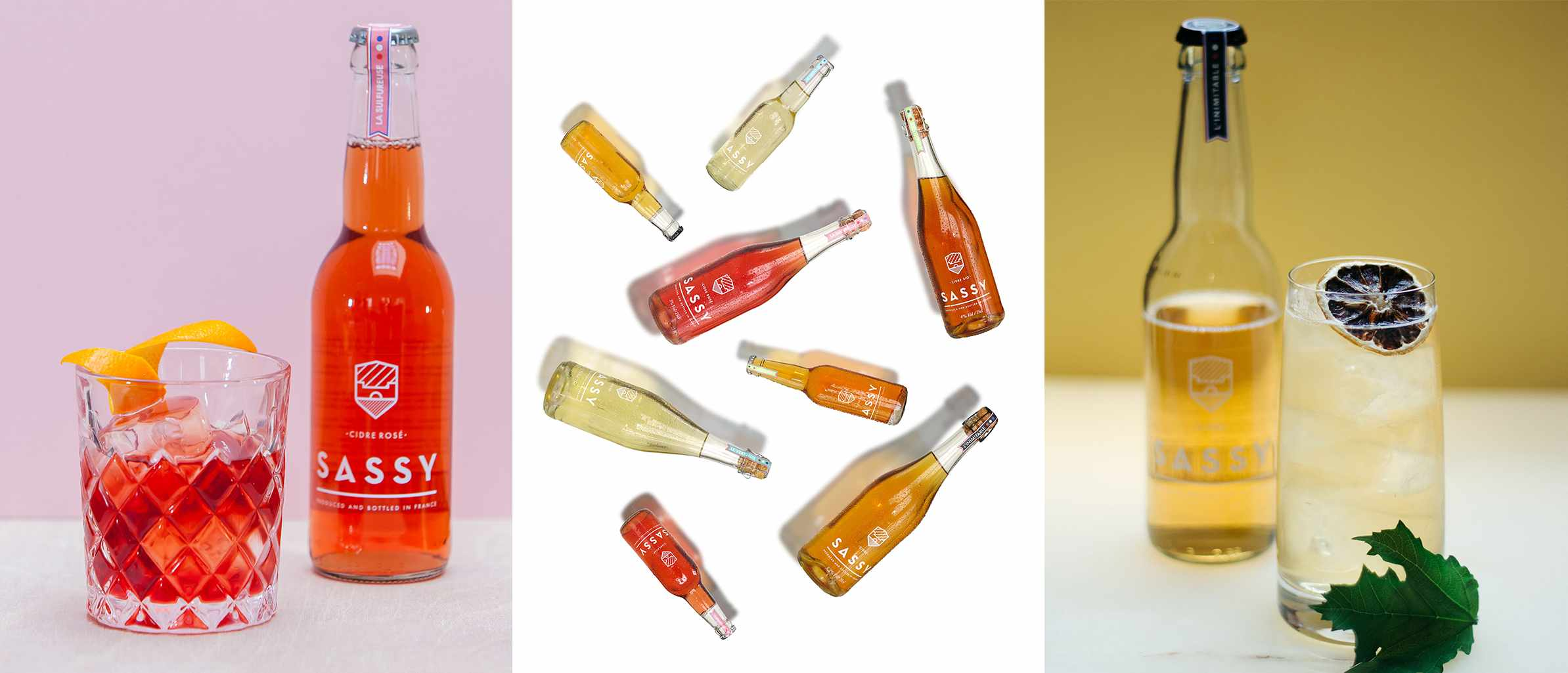 Three images. The first is of a bottle of Sassy cider with a cocktail next to it, the second is a selection of bottles and the third is a bottle with a cocktail next to it