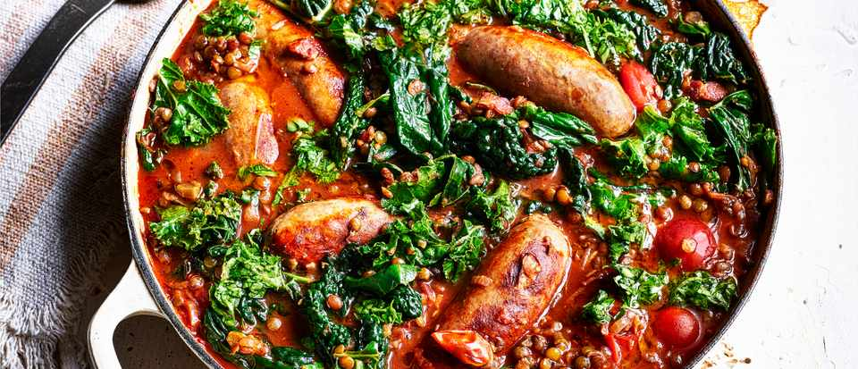 Sausage and Lentils Recipe with Kale