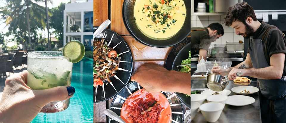 A selection of three images. The first is a cocktail held over a swimming pool, the second is a selection of curries and the final is Antonio Galapito