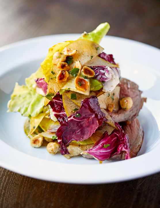 Venison Roast Recipe with Pear Salad and Toasted Hazelnuts