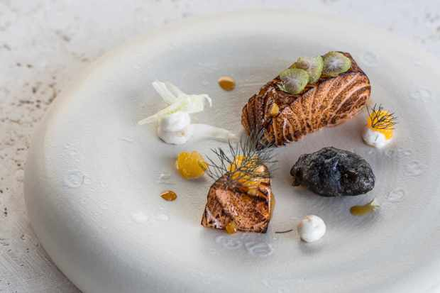 A white plate is topped with a delicate piece of blowtorched Loch Duart salmon. To the side is a squid ink-battered deep-fried mussel and there are dots of white taramasalata
