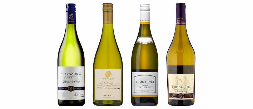 A selection of four bottle of chardonnay wine