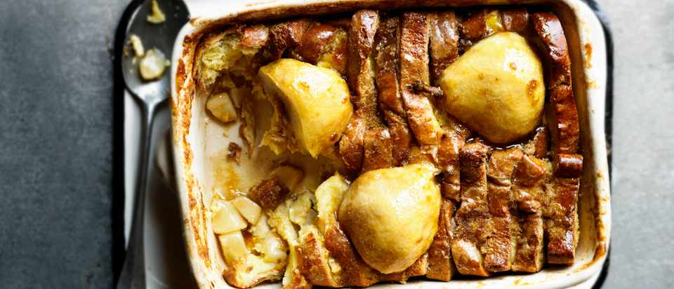 Bread and Butter Pudding Recipe with Pears
