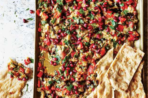 Smoked Aubergine Salad Recipe with Pomegranates