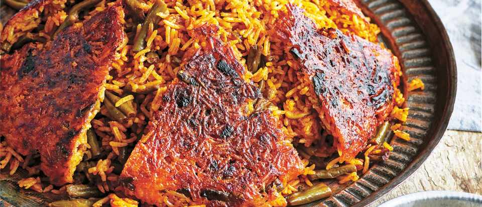 Vegetarian Rice and Beans Recipe with (Loobia Polow)
