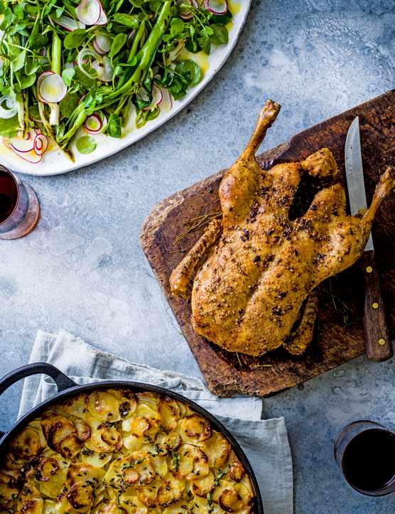 Roast Duck Recipe with Layered Potato Cake and Watercress Salad