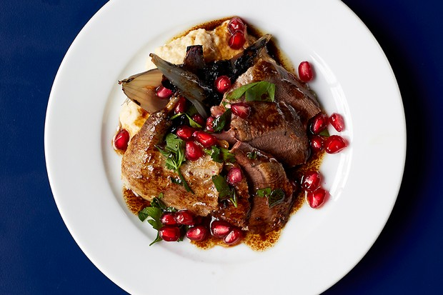 A white plate sits against a dark blue background. On the plate are piece of wood pigeon, creamy hummus, pomegranate seeds and mint leaves