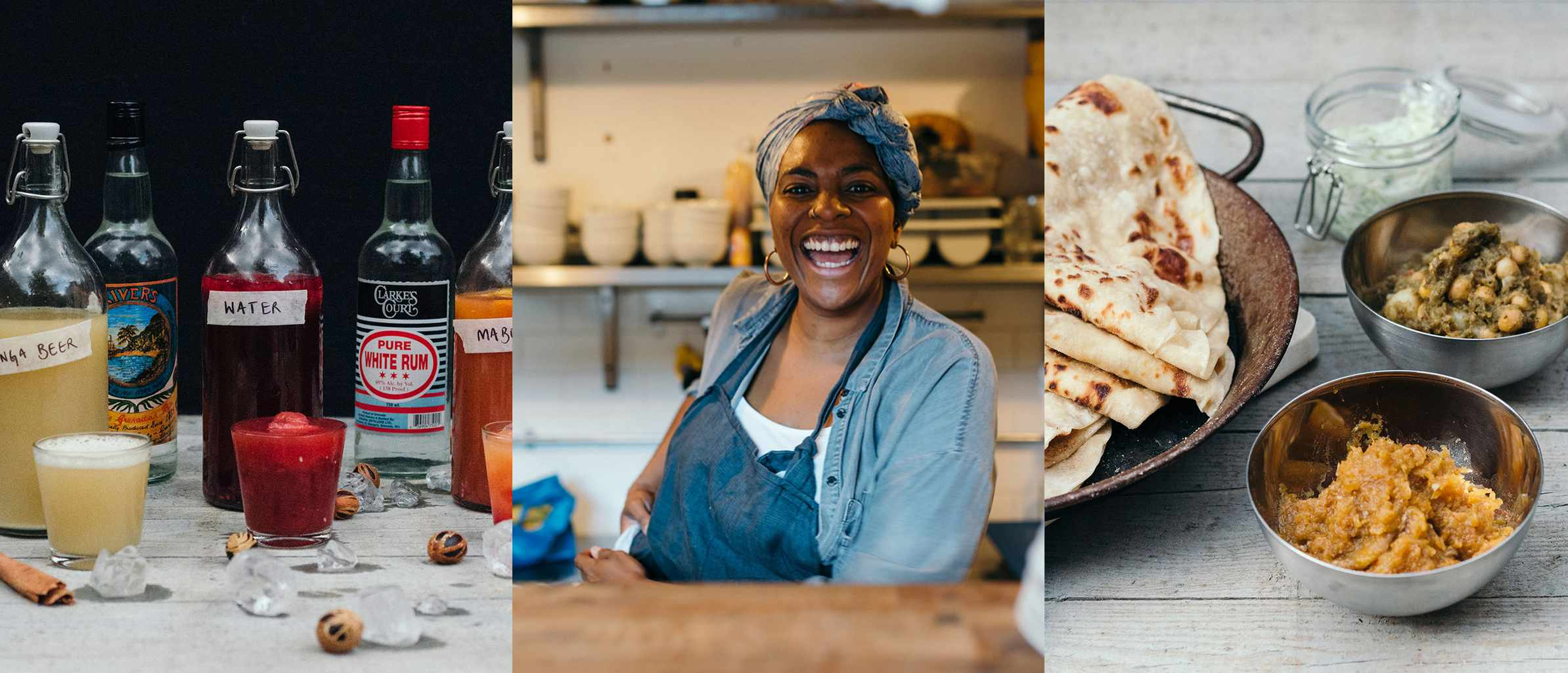 Three images. The first is of a selection of rum punches, the second is of Marie Mitchell and the third is a roti with a couple of small bowls filled with curries by the side