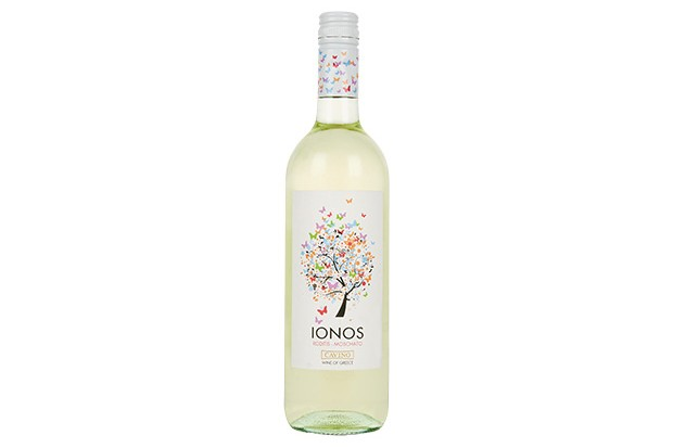 A very pale bottle of white wine. The logo on the front has a drawing of a tree with colourful butterflies flying from it